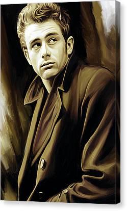 Celebrity Portrait Canvas Print - James Dean Artwork by Sheraz A