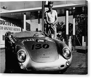 James Dean Filling His Spyder With Gas In Black And White Canvas Print by Doc Braham