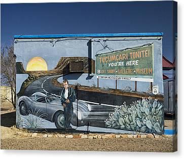 1950s Movies Canvas Print - James Dean Mural In Tucumcari On Route 66 by Carol Leigh