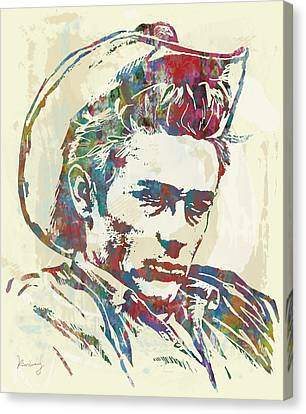 James Dean  - Stylised Etching Pop Art Poster Canvas Print by Kim Wang