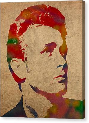 James Dean Watercolor Portrait On Worn Distressed Canvas Canvas Print by Design Turnpike