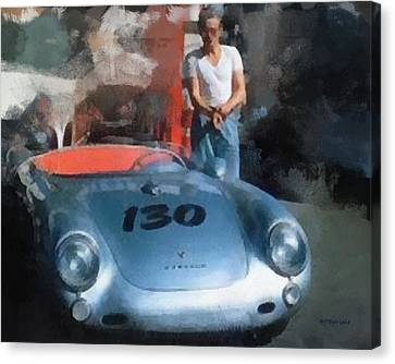 James Dean With His Spyder Canvas Print