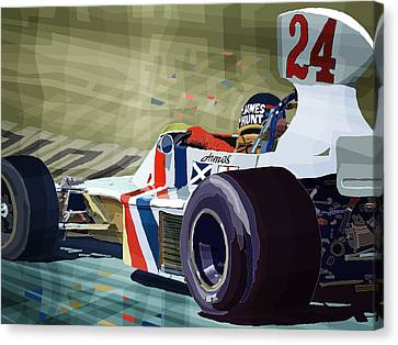 James Hunt 1975 Hesketh 308b Canvas Print by Yuriy Shevchuk