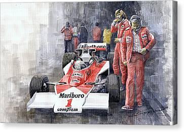 James Hunt Monaco Gp 1977 Mclaren M23 Canvas Print by Yuriy Shevchuk