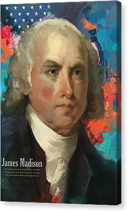 James Madison Canvas Print - James Madison by Corporate Art Task Force