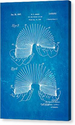 Helical Canvas Print - James Slinky Toy Patent Art 2 1947 Blueprint by Ian Monk