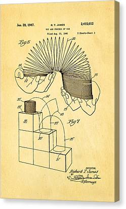 Helical Canvas Print - James Slinky Toy Patent Art 3 1947 by Ian Monk