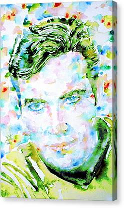 James T. Kirk - Watercolor Portrait Canvas Print by Fabrizio Cassetta