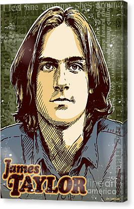 James Taylor Pop Art Canvas Print by Jim Zahniser