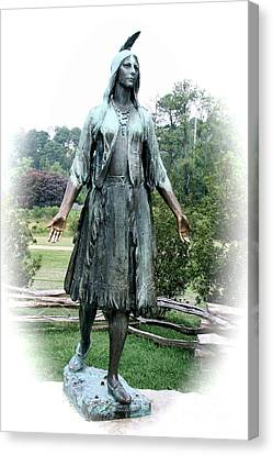 Jamestown Pocahontas Statue Canvas Print by Christiane Schulze Art And Photography