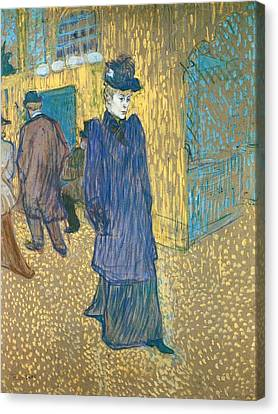 Jane Avril Leaving The Moulin Rouge Canvas Print by Toulouse-Lautrec