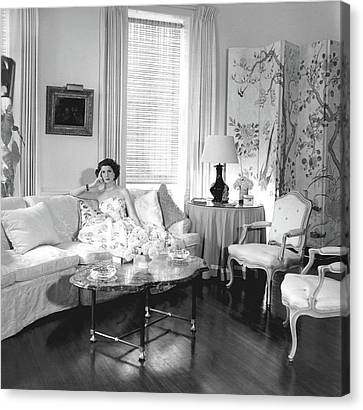 Jane Engelhard In Her Drawing Room Canvas Print by Horst P. Horst