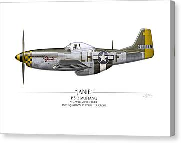 Janie P-51d Mustang - White Background Canvas Print by Craig Tinder