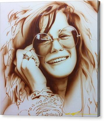 Famous Musician Canvas Print - Janis by Christian Chapman Art