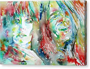 Janis Joplin And Grace Slick Watercolor Portrait.1 Canvas Print by Fabrizio Cassetta