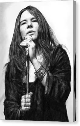 Janis Joplin Art Drawing Sketch Portrait Canvas Print by Kim Wang