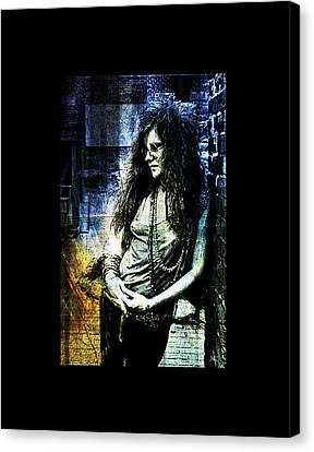 Janis Joplin - Blue Canvas Print by Absinthe Art By Michelle LeAnn Scott