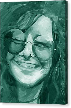 Janis Joplin Green Canvas Print by Michele Engling
