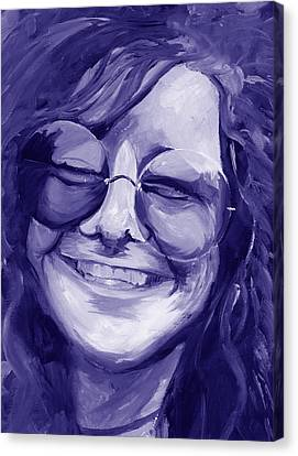 Janis Joplin Purple Canvas Print by Michele Engling