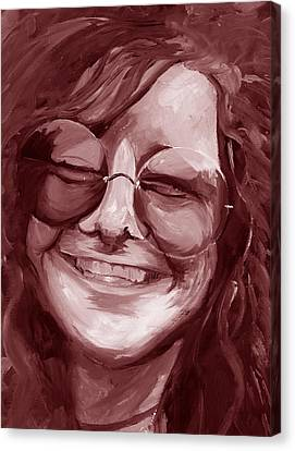 Janis Joplin Red Canvas Print by Michele Engling