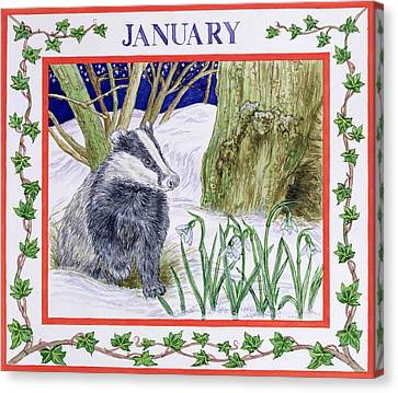 January Wc On Paper Canvas Print by Catherine Bradbury