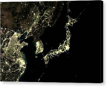 Japan And Korean Peninsula At Night Canvas Print by Planetobserver