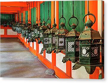 Japan, Nara Hanging Lanterns At Kasuga Canvas Print by Jaynes Gallery