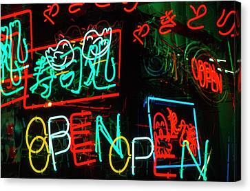 Japan, Osaka Neon Signs For Sale Canvas Print by Jaynes Gallery