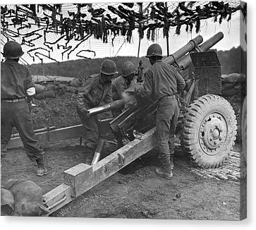 Artillery Canvas Print - Japanese-american G.i.'s by Underwood Archives