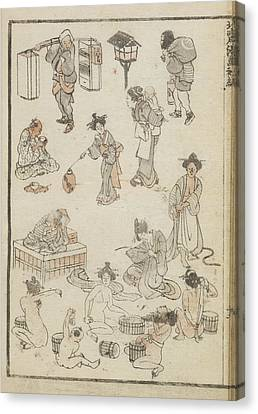 Japanese Bathing Canvas Print by British Library