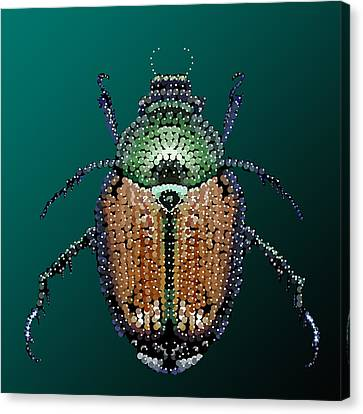 Japanese Beetle Bedazzled II Canvas Print