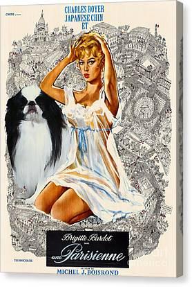 Japanese Chin Art - Una Parisienne Movie Poster Canvas Print by Sandra Sij