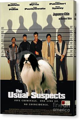 Japanese Chin Art Canvas Print - The Usual Suspects Movie Poster Canvas Print by Sandra Sij