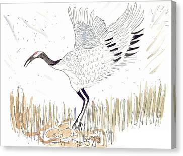 Canvas Print featuring the painting Japanese Crane And Her Nest by Helen Holden-Gladsky