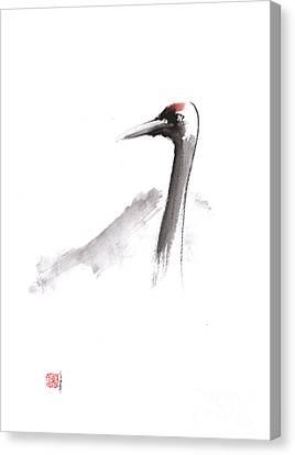 Japanese Crane And Mount Fuji Original Artwork Canvas Print