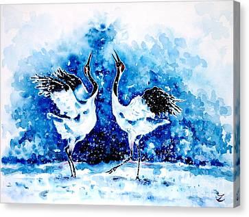 Japanese Cranes Canvas Print by Zaira Dzhaubaeva