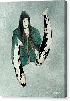 Japanese Empress Shinko Utsuri Mono Painting Canvas Print by Gordon Lavender