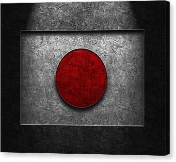 Canvas Print featuring the digital art Japanese Flag Stone Texture by Brian Carson