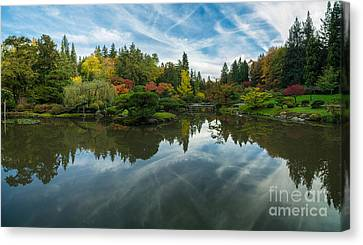Japanese Garden Fall Colors Seattle Panorama Canvas Print by Mike Reid
