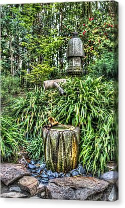 Japanese Garden Fountain Canvas Print by Heidi Smith