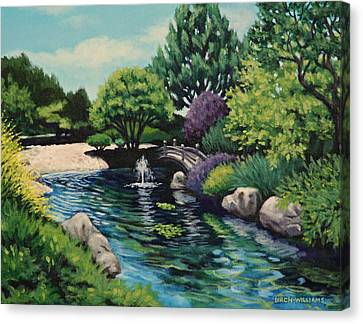 Japanese Garden Fountain View Canvas Print by Penny Birch-Williams