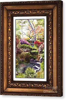 Japanese Garden In Vintage Frame Canvas Print