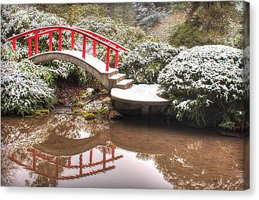 Japanese Garden Snowfall 2 Canvas Print by Jeff Cook