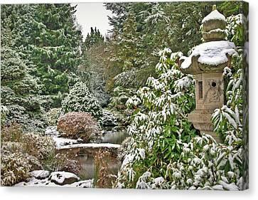 Japanese Garden Snowfall Canvas Print by Jeff Cook