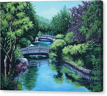 Japanese Garden Two Bridges Canvas Print by Penny Birch-Williams