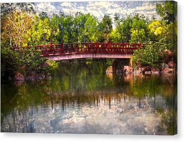 Japanese Gardens Bridge Canvas Print by Debra and Dave Vanderlaan
