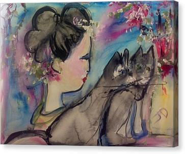 Japanese Lady And Felines Canvas Print by Judith Desrosiers