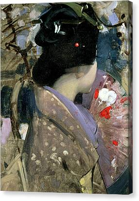 Japanese Lady With A Fan Canvas Print by George F Henry
