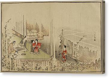 Japanese Men Playing A Game Canvas Print by British Library