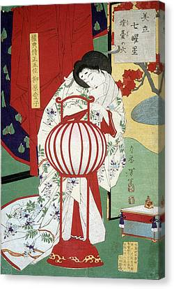 Japanese Okiandon, Oil Lamp Canvas Print by Science Source